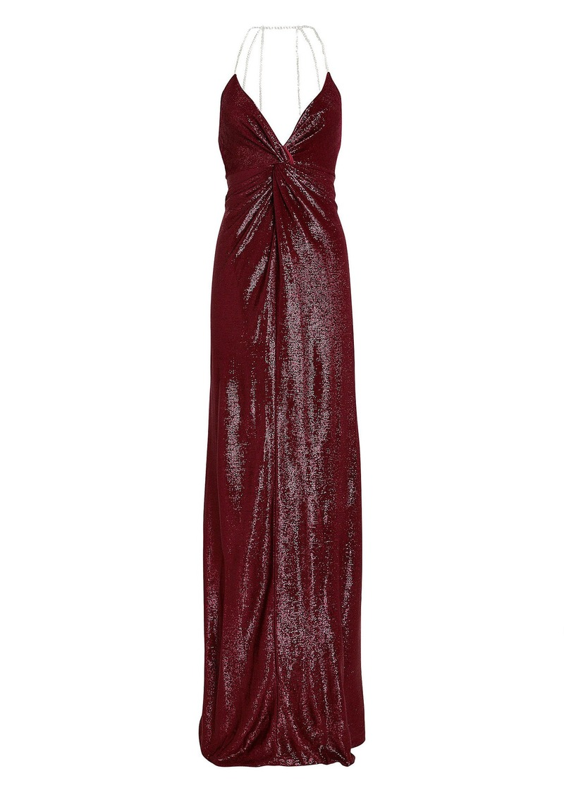 Michelle Mason Crystal Strap Shimmer Gown