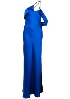 Michelle Mason draped-arm silk gown