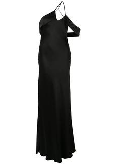 Michelle Mason draped-shoulder silk gown