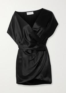 Michelle Mason Draped Wrap-effect Silk-satin Mini Dress