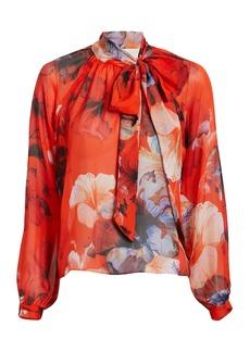 Michelle Mason Floral Oversized Bow Detail Blouse