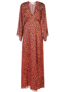 Michelle Mason leopard print plunge gown