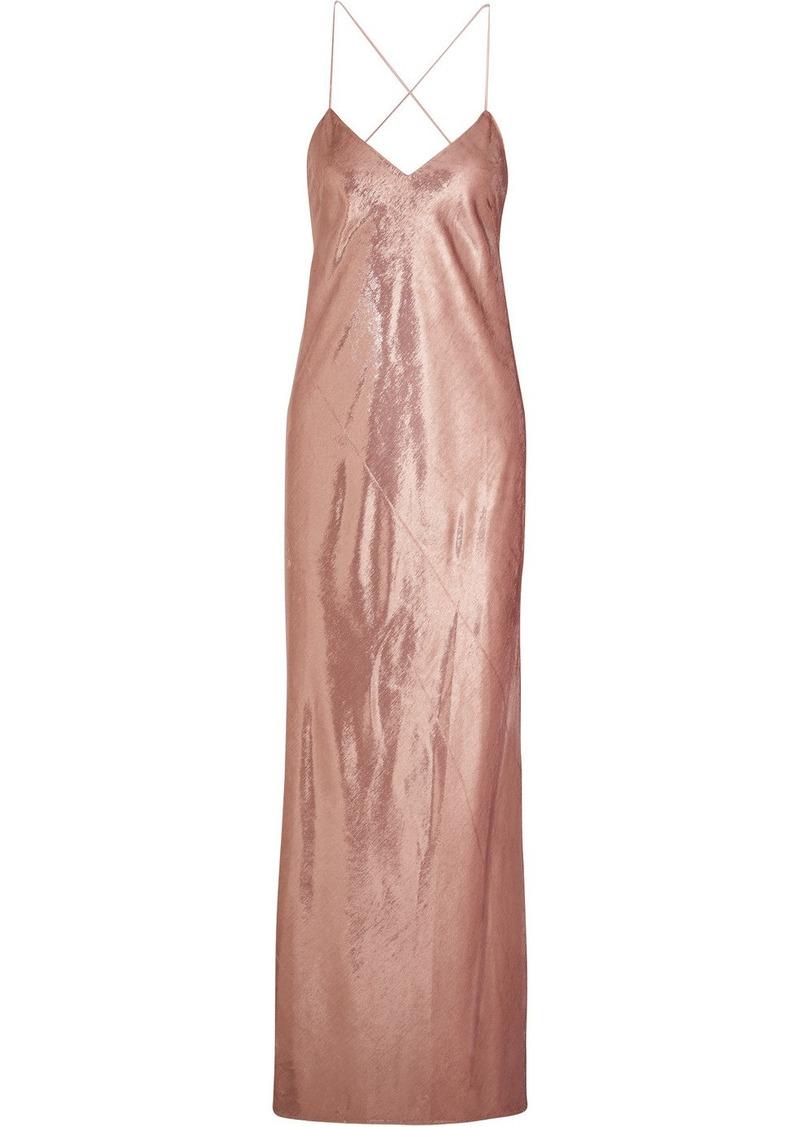 Michelle Mason Metallic Velvet Gown