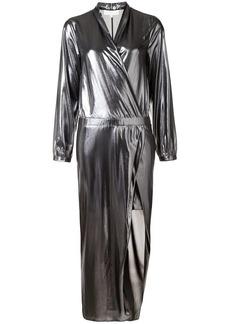 Michelle Mason metallic wrap dress