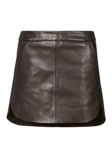 Michelle Mason Baseball Hem Leather Mini Skirt