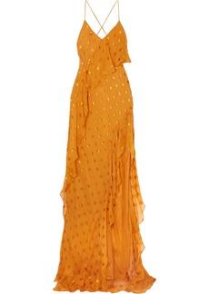 Michelle Mason Asymmetric polka-dot silk-blend chiffon dress