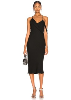 Michelle Mason Midi Dress with Draped Cowl Neck