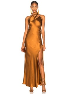 Michelle Mason One Shoulder Gown With Tie