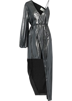 Michelle Mason Woman Asymmetric Lamé Midi Wrap Dress Gunmetal
