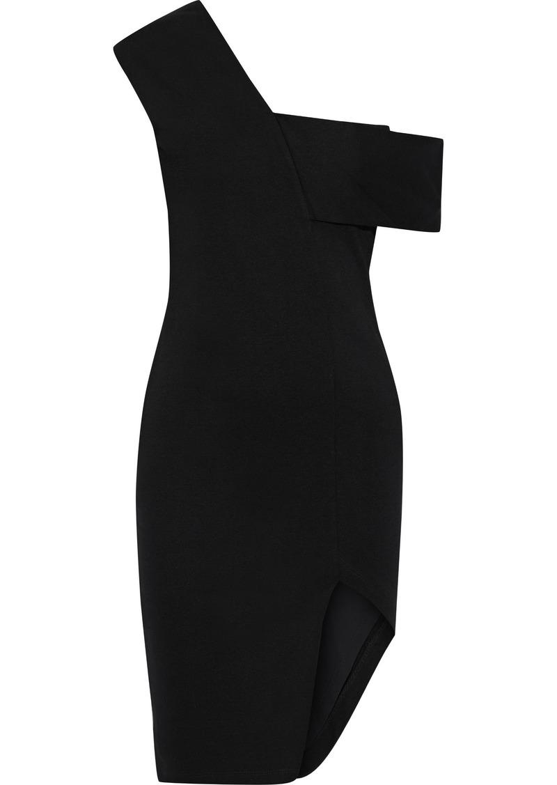 Michelle Mason Woman Asymmetric Off-the-shoulder Ponte Dress Black