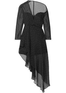 Michelle Mason Woman One-shoulder Polka-dot Silk-chiffon Dress Black