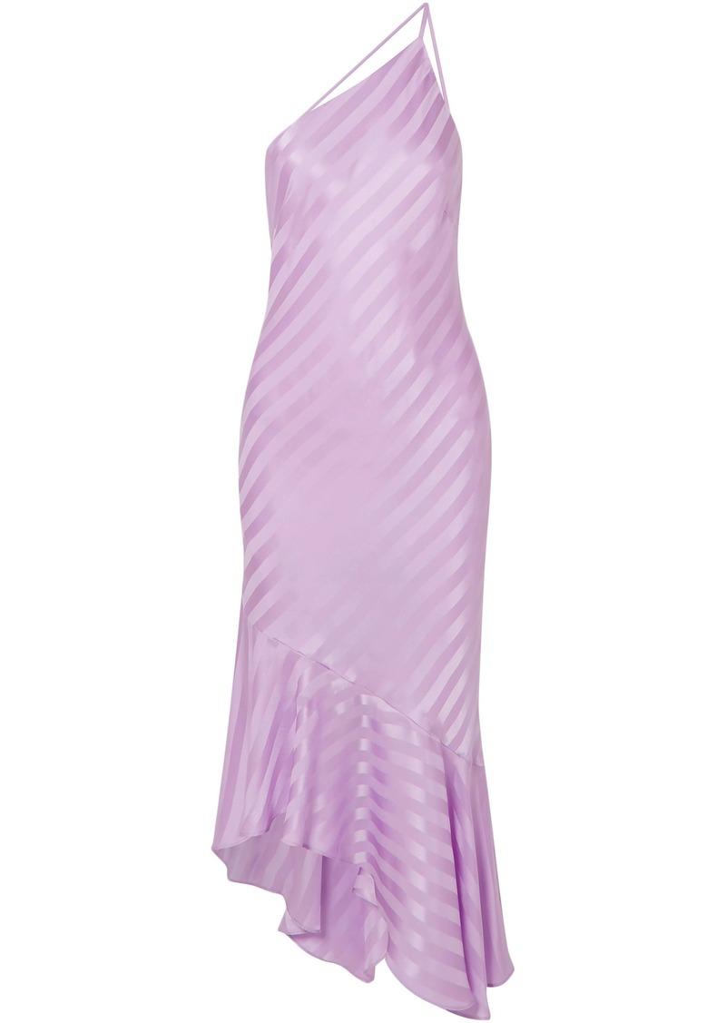 Michelle Mason Woman One-shoulder Asymmetric Striped Silk-satin Jacquard Dress Lavender