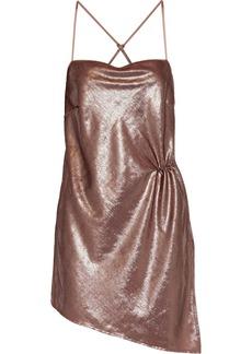 Michelle Mason Woman Asymmetric Ruched Tinsel Mini Dress Antique Rose