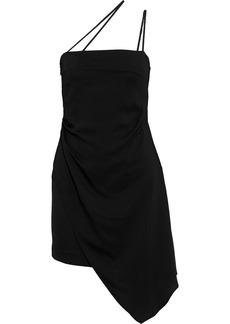 Michelle Mason Woman Asymmetric Stretch-crepe Mini Dress Black
