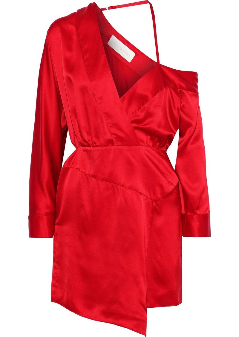 Michelle Mason Woman Off-the-shoulder Wrap-effect Silk-charmeuse Mini Dress Red