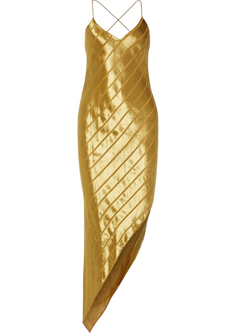 Michelle Mason Woman Bias Asymmetric Striped Devoré-velvet Midi Dress Gold
