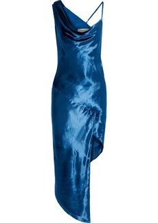 Michelle Mason Woman Bias Cowl Asymmetric Draped Velvet Dress Cobalt Blue