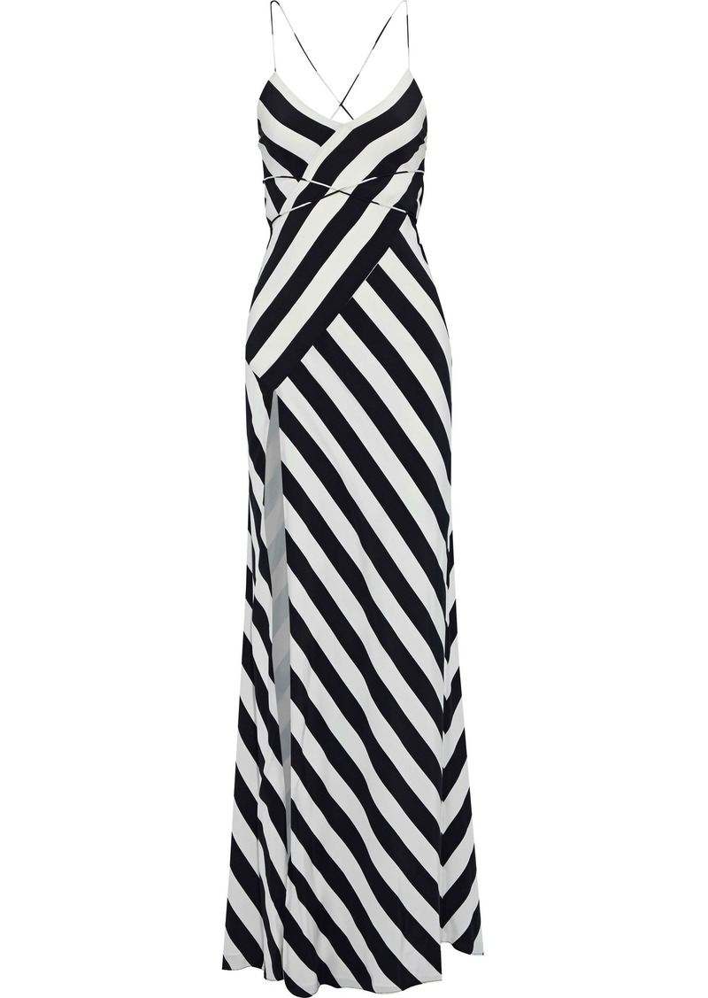Michelle Mason Woman Wrap-effect Open-back Printed Washed-silk Gown Ivory