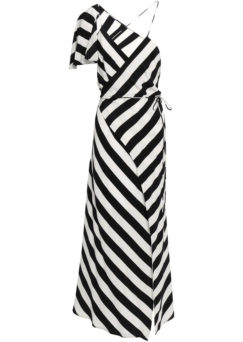 Michelle Mason Woman Cape-effect Striped Silk Crepe De Chine Midi Wrap Dress White