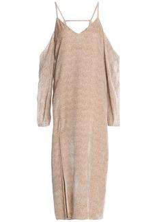 Michelle Mason Woman Cold-shoulder Flocked Chiffon Midi Dress Beige