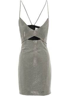 Michelle Mason Woman Cutout Lamé Mini Dress Platinum