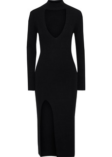 Michelle Mason Woman Cutout Ribbed Wool And Cashmere-blend Midi Dress Black