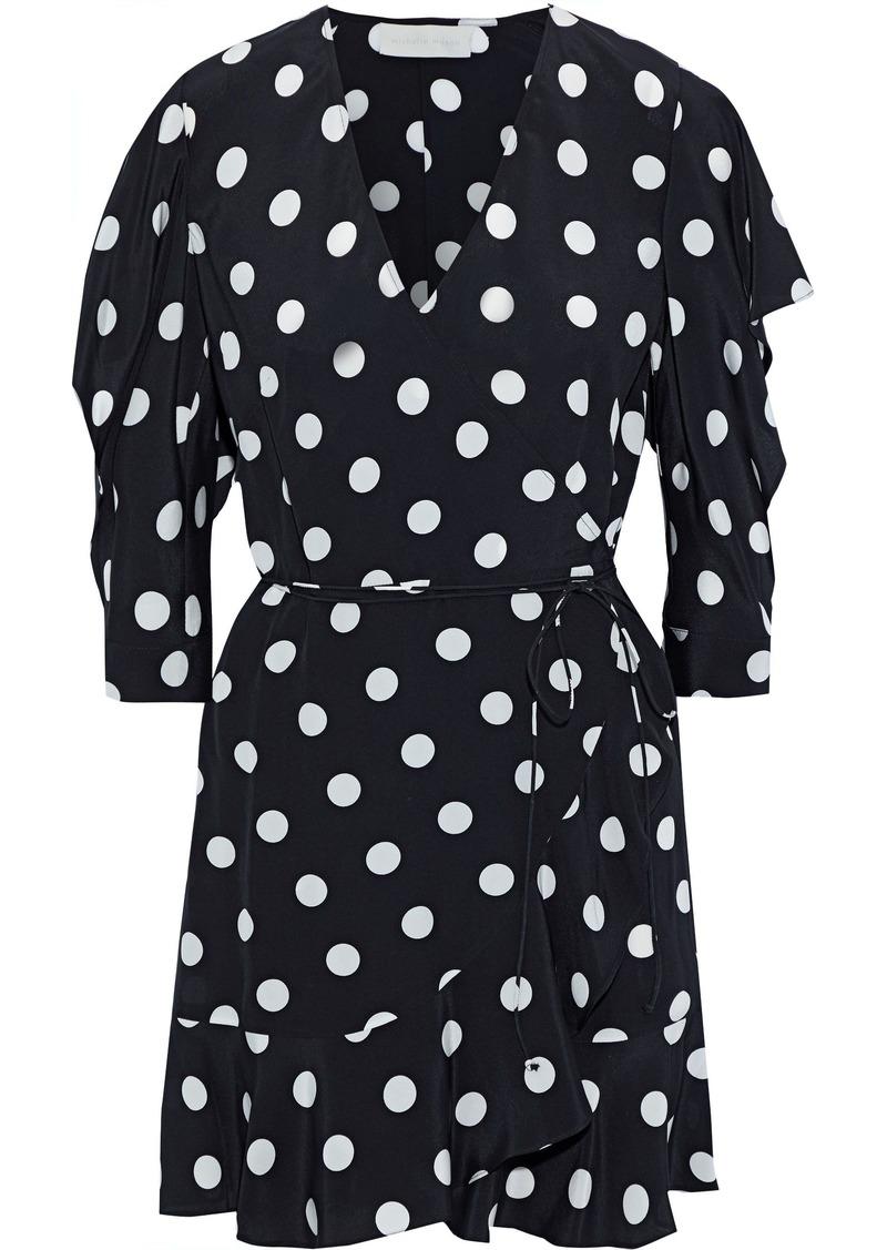 Michelle Mason Woman Ruffle-trimmed Cutout Silk Mini Wrap Dress Black