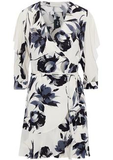 Michelle Mason Woman Ruffle-trimmed Cutout Silk Mini Wrap Dress Off-white
