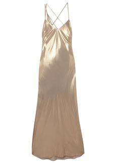 Michelle Mason Woman Open-back Draped Leopard-print Silk-chiffon Gown Gold