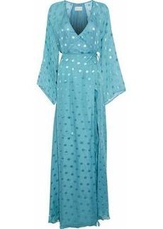 Michelle Mason Woman Fil Coupé Silk-blend Chiffon Maxi Wrap Dress Light Blue