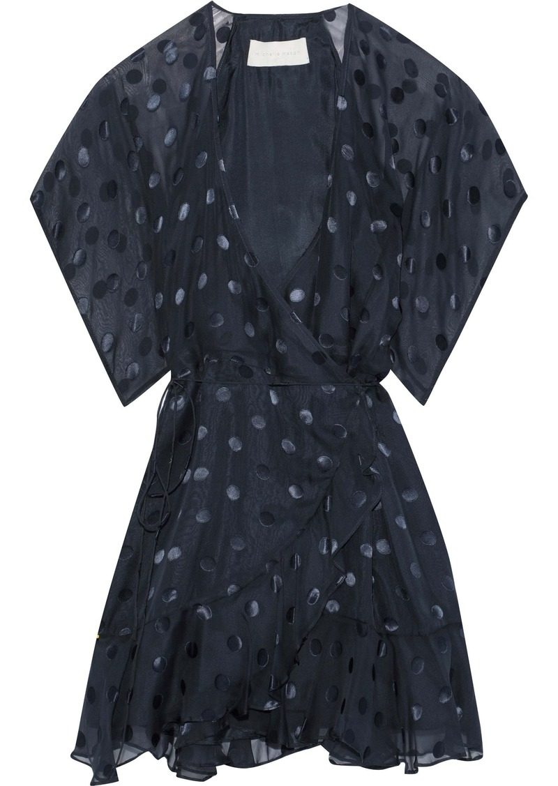Michelle Mason Woman Fil Coupé Silk-blend Chiffon Mini Wrap Dress Midnight Blue