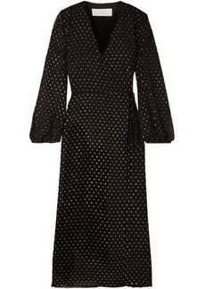 Michelle Mason Woman Glittered Polka-dot Chiffon Midi Wrap Dress Black