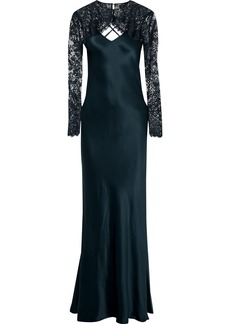 Michelle Mason Woman Layered Lace And Silk-charmeuse Gown Storm Blue