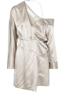 Michelle Mason Woman Off-the-shoulder Wrap-effect Silk-charmeuse Mini Dress Platinum