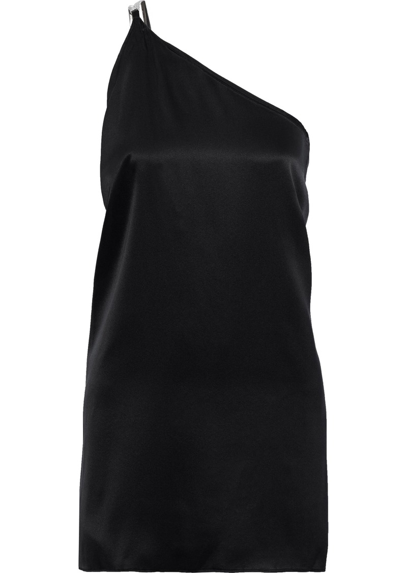 Michelle Mason Woman One-shoulder Chain-trimmed Silk-charmeuse Mini Dress Black