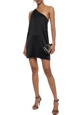 Michelle Mason Woman One-shoulder Chain-trimmed Silk-charmeuse Mini Dress Black