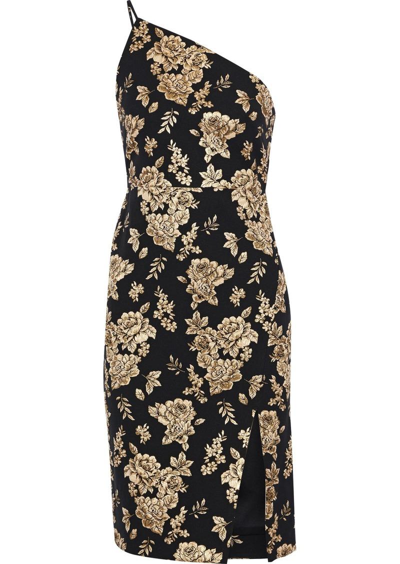 Michelle Mason Woman One-shoulder Metallic Floral-jacquard Dress Black