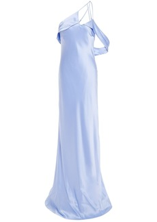 Michelle Mason Woman One-shoulder Open-back Draped Silk-charmeuse Gown Light Blue