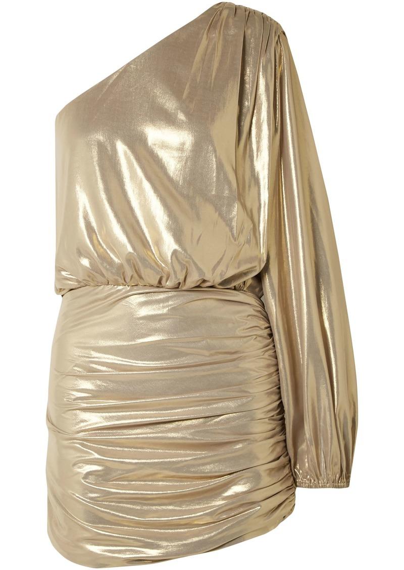 Michelle Mason Woman One-shoulder Ruched Silk-chiffon Mini Dress Gold