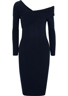Michelle Mason Woman One-shoulder Wool And Cashmere-blend Dress Navy