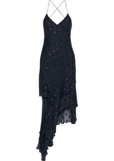 Michelle Mason Woman Asymmetric Fil Coupé Silk-blend Midi Slip Dress Midnight Blue