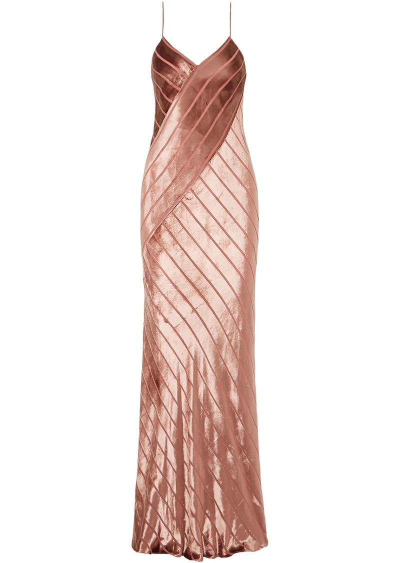 Michelle Mason Woman Open-back Devoré-velvet Gown Antique Rose