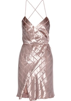 Michelle Mason Woman Open-back Devoré-velvet Mini Wrap Dress Rose Gold
