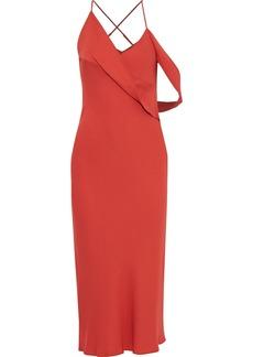 Michelle Mason Woman Open-back Draped Cady Midi Dress Brick