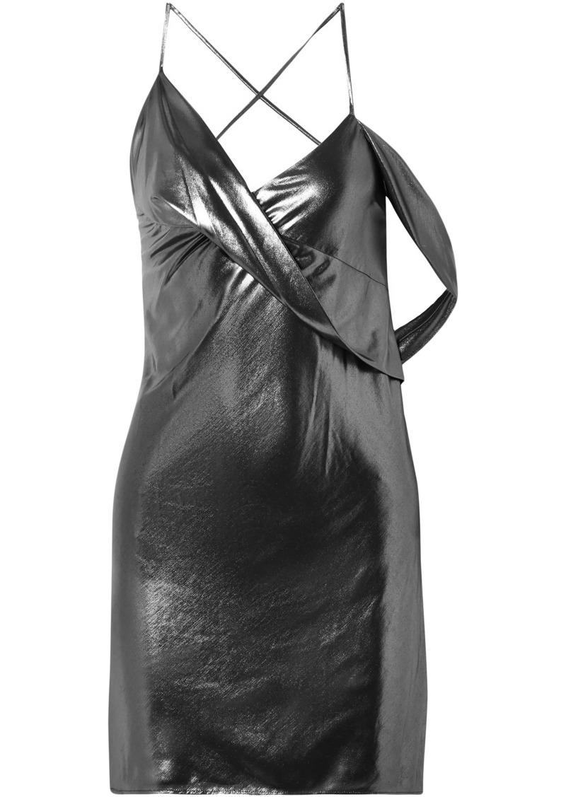 Michelle Mason Woman Open-back Draped Lamé Slip Dress Gunmetal