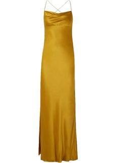 Michelle Mason Woman Open-back Draped Silk-charmeuse Gown Mustard