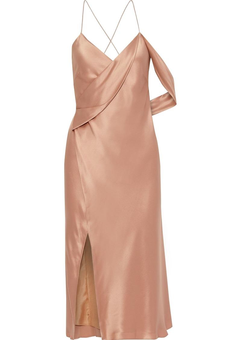 Michelle Mason Woman Open-back Draped Silk-charmeuse Midi Wrap Dress Antique Rose