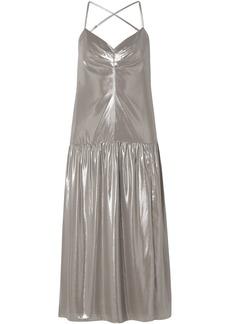 Michelle Mason Woman Open-back Lamé Midi Slip Dress Silver