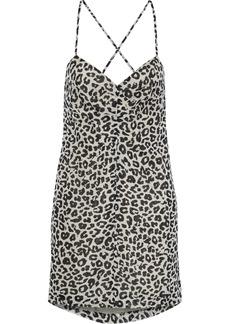 Michelle Mason Woman Open-back Gathered Leopard-print Silk-chiffon Mini Dress Off-white