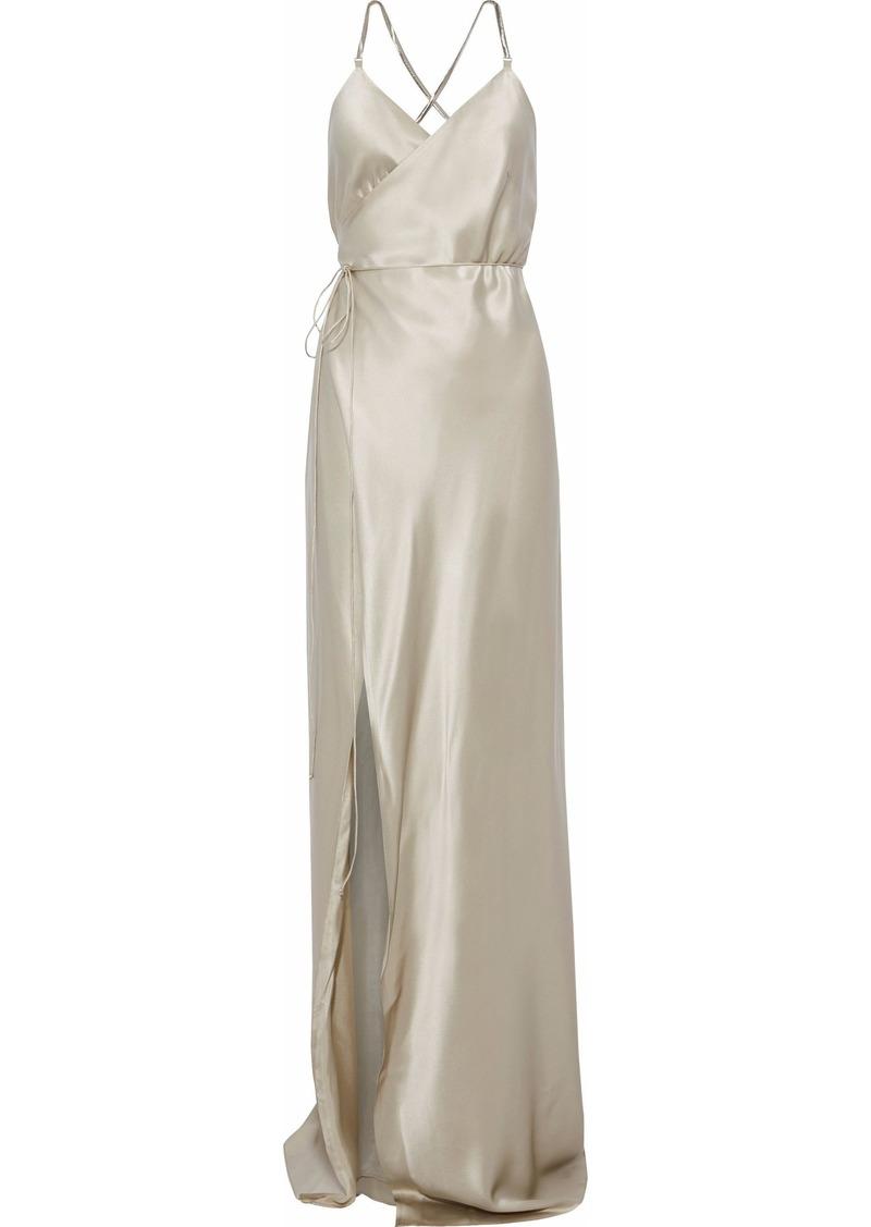Michelle Mason Woman Open-back Silk-satin Wrap Gown Platinum